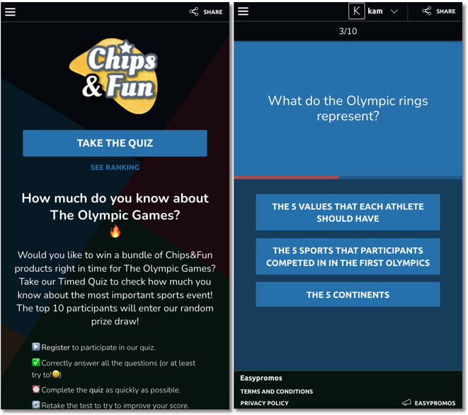 olympic games promotion idea for any brand: branded timed quiz