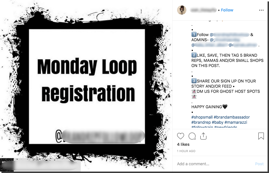 Screenshot of an Instagram loop giveaway. Users are asked to follow, like, save, tag, share, Story and direct message.