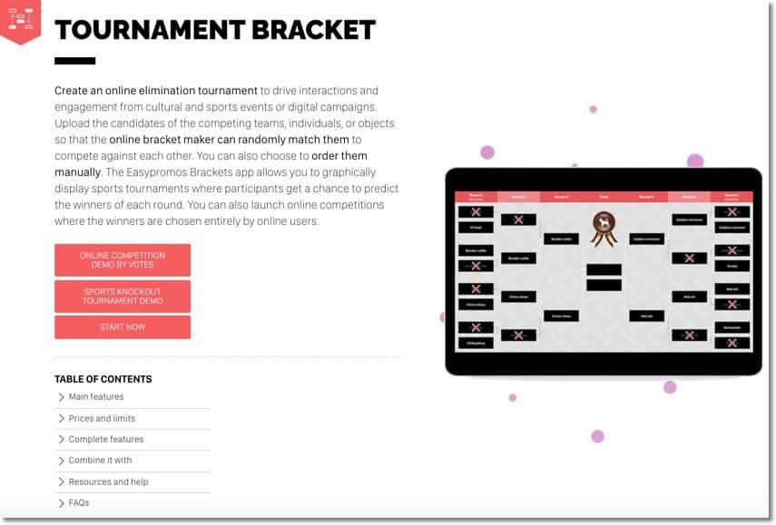 branded tournament bracket app generator by Easypromos