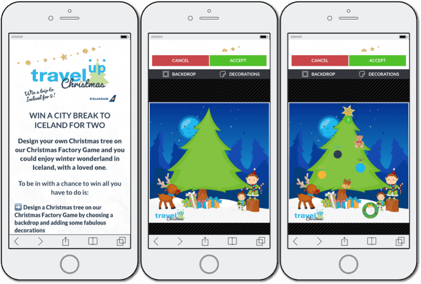 scenes app example, travel up christmas campaign, image personalization