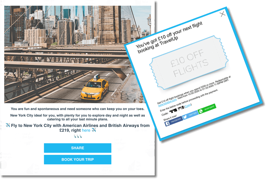 travelup generate leads product recommender