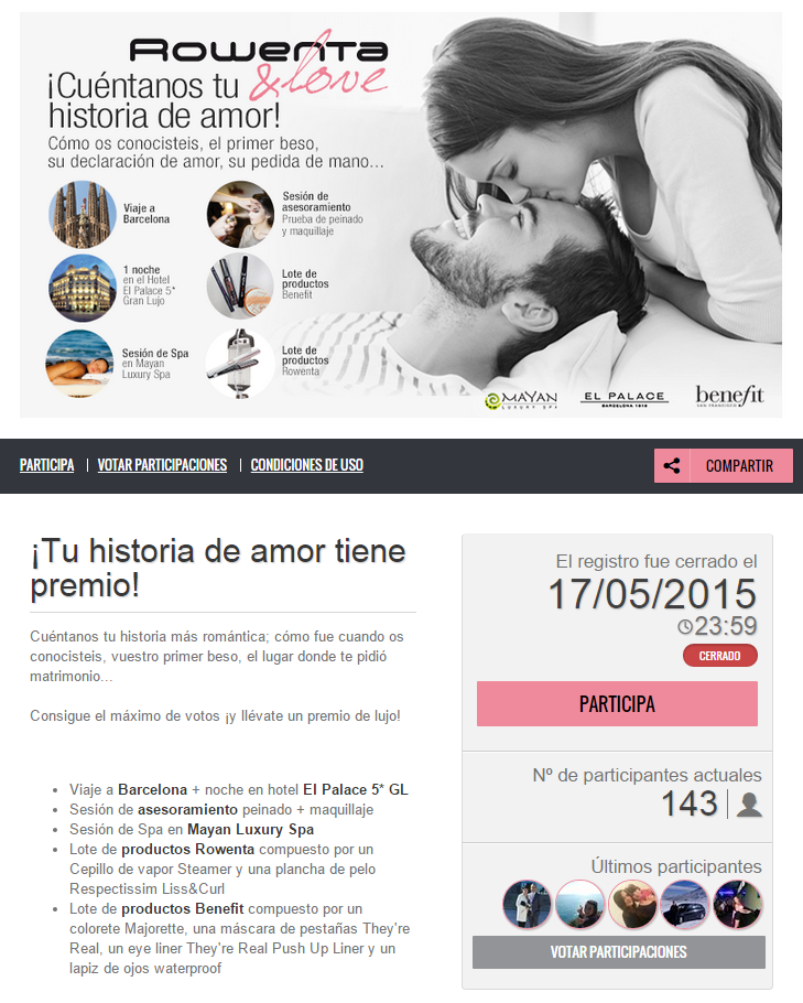 Screenshot of the Rowenta writing contest. The header image shows a black and white photo of couple, with color inset photos showing the prizes on offer. Below, a short text explains the details of the prize and how to take part.