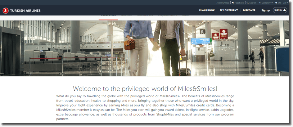 Turkish Airlines air miles as an example of customer loyalty program