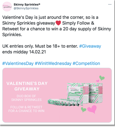 how to organize a twitter giveaway: a good example from Skinny Sprinkles