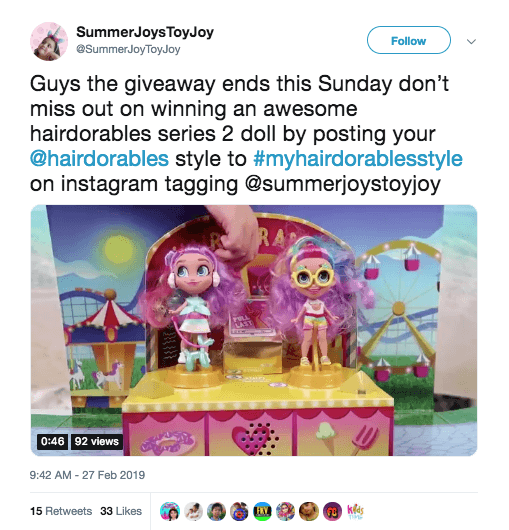 Mention + hashtag contest to promote toys on social media, including Instagram and Twitter. The image shows two Hairdorables toys.