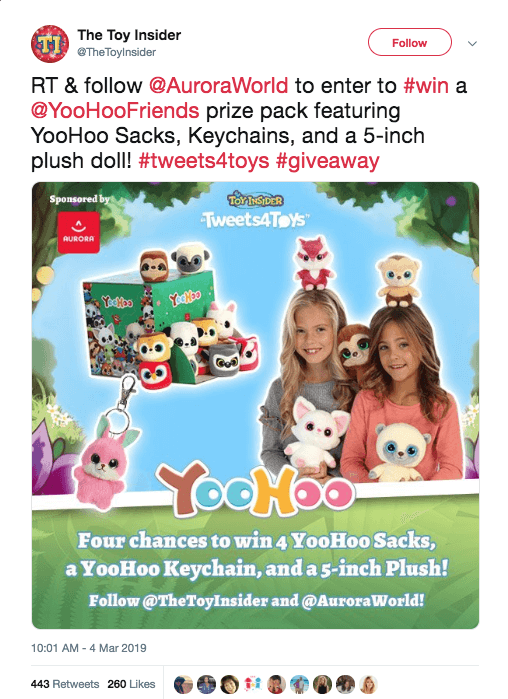 Twitter giveaway to promote toys and social media. The image shows the prize pack. The caption explains that users have to retweet and follow to win.