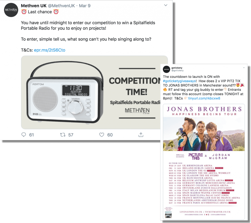 Example of product promotion on Twitter