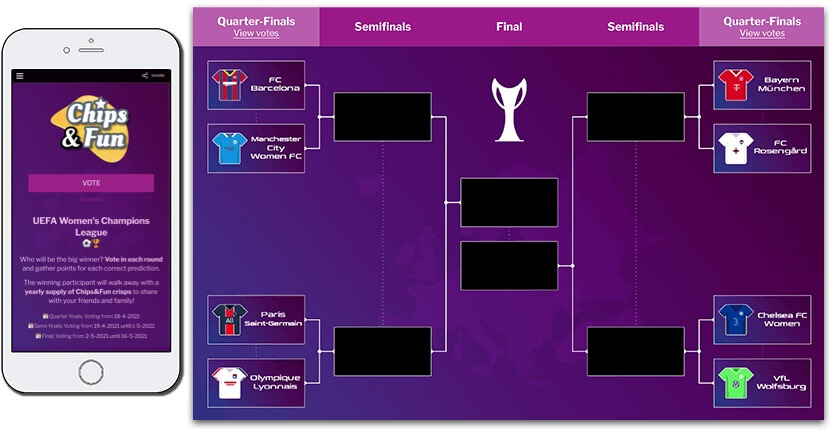 branded tournament bracket for uefa women's champions league