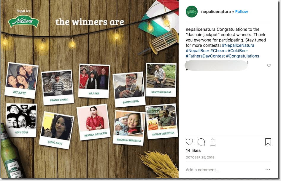 Post showing the results of a Father's Day giveaway on Instagram. The image shows a collection of winning photos from the brand's followers, against a wooden background.