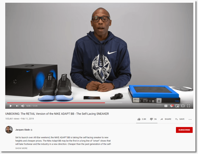 creative marketing strategy for brand voice. screenshot of an unboxing video by Jacques Slade for Nike