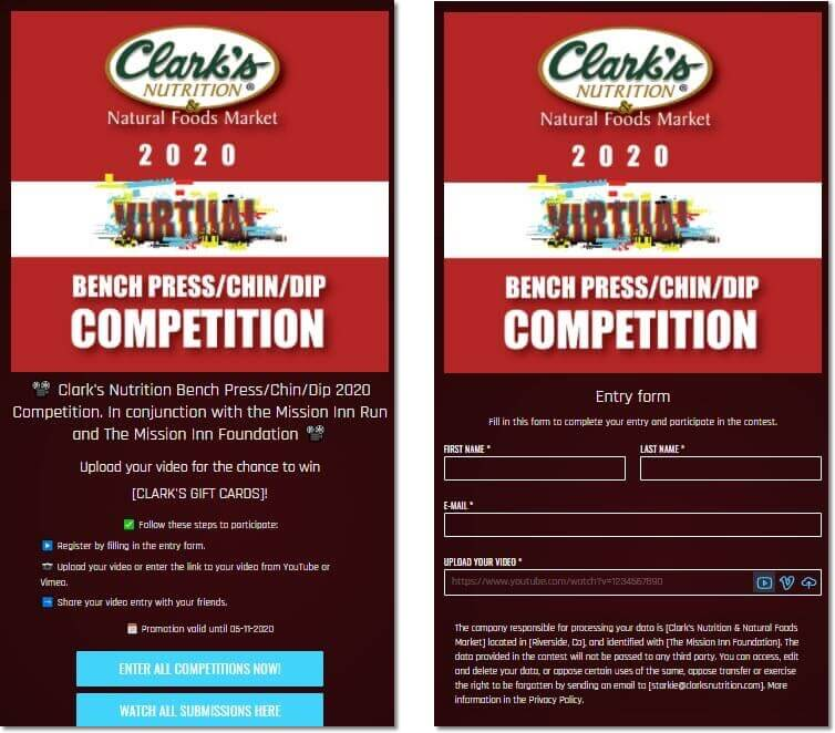 Screenshot of a video contest by Clark's Nutrition. Users share a video of themselves doing bench presses, chin-ups and dips for the chance to win a giftcard.