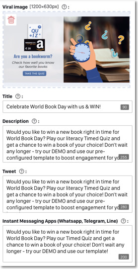 viral content easypromos promotions. example of how whatsapp contests can be shared online