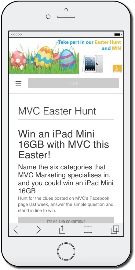 Easter promotion ideas: an online Easter egg hunt. The mobile screenshot announces a contest to win an iPad Mini, when participants name the 6 specialist interests of the organizing brand.