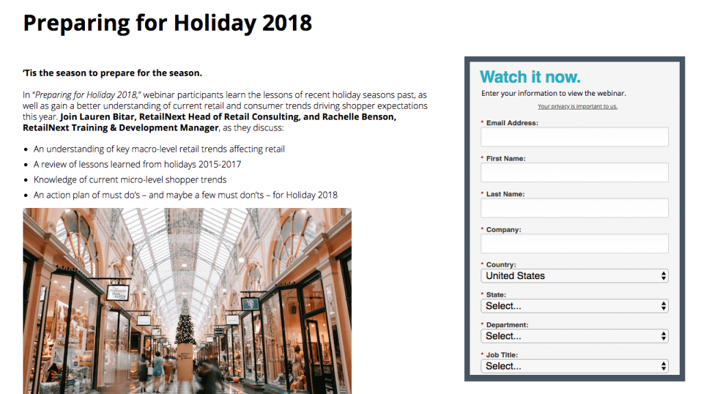 Sign up page for a webinar about retail marketing for the holidays, 2018. Users share their contact and employment details to join.