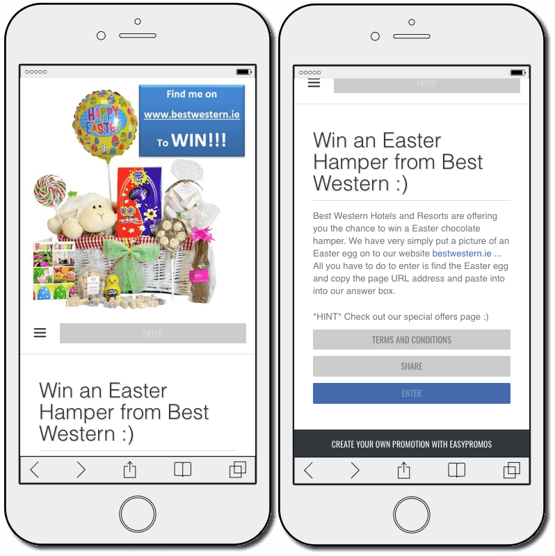"Easter promotion ideas: an online Easter egg hunt. Mobile screenshot 1 shows a hamper full of Easter sweets with the title ""Win an Easter Hamper from Best Western"". Mobile screenshot 2 explains that people can enter the contest by searching for clues on the Best Western website."