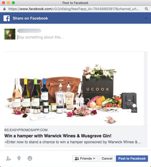 wine tourism marketing food giveaway facebook share