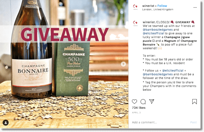 Social media in lockdown Instagram giveaway example