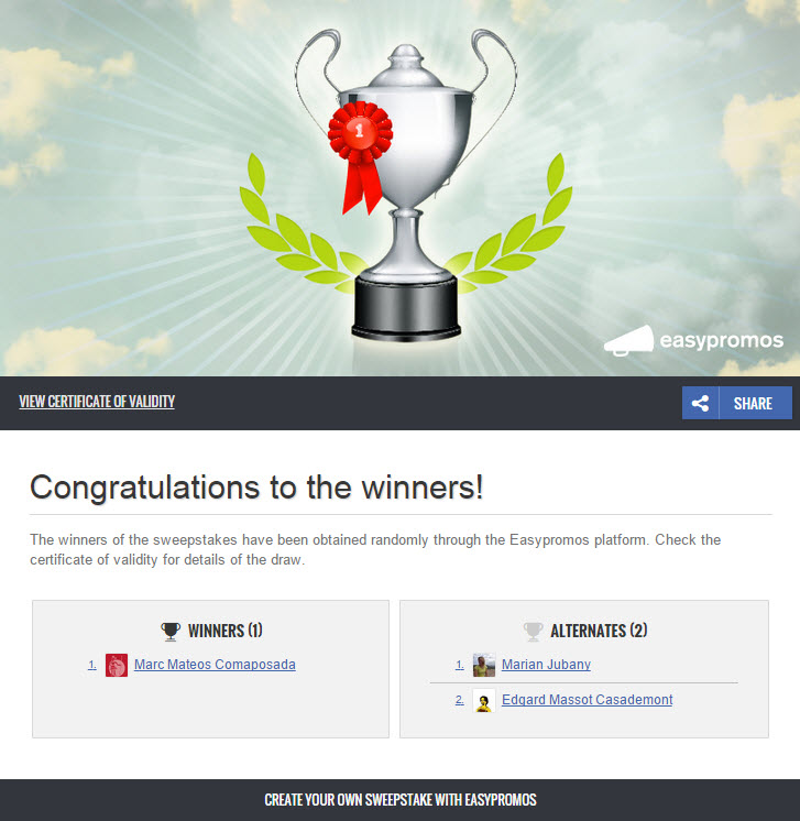 winners page