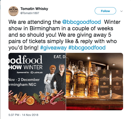 winter giveaway on Twitter reply food
