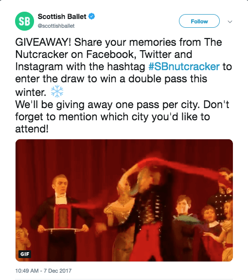 winter giveaway on Twitter reply theatre Christmas