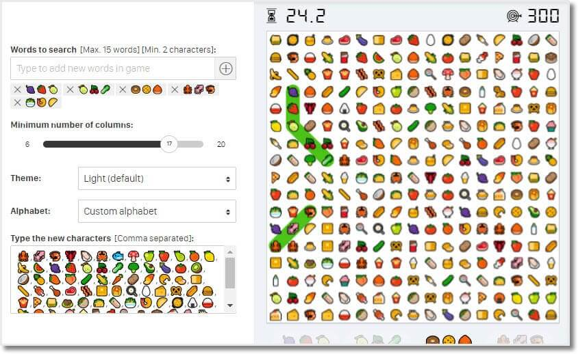 Emojis wordsearch