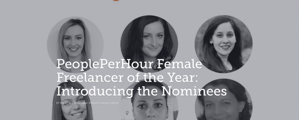 Banner announcing the People Per Hour Female Freelancer of the Year award and introducing the nominees