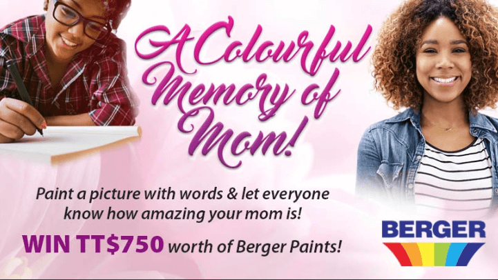 "Banner announcing a Mother's Day writing contest. The image shows two young people, one of them writing. The text reads: ""A colourful memory of Mom! Paint a picture with words and let everyone know how amazing your Mom is! Win $750 worth of Berger Paints!"""