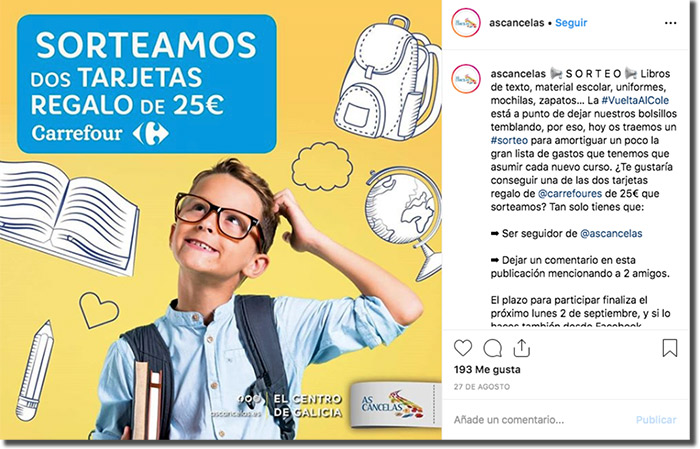 ejemplo de publicación en instagram de una promoción exclusiva
