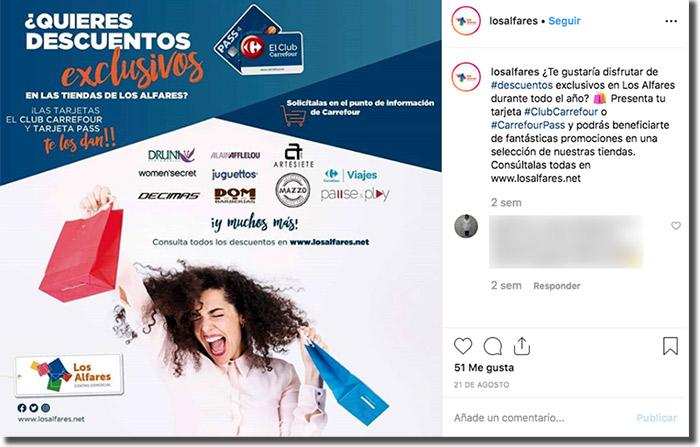 ejemplo de publicación de marketing para centros comerciales en instagram