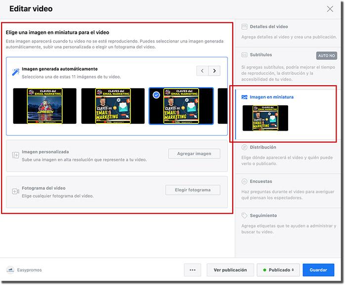 dónde modificar el thumbnail de un vídeo de Facebook