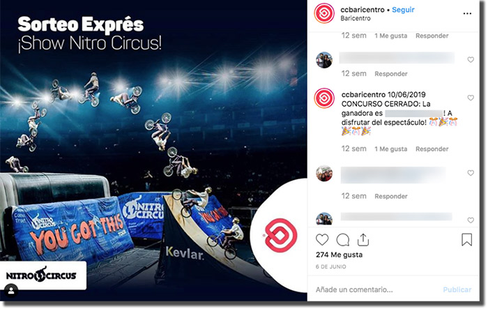 sorteo exprés en instagram de un centro comercial