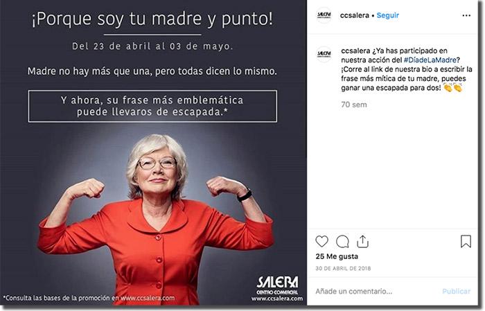 ejemplo de promoción del día de la madre de un centro comercial