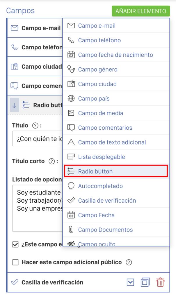 radio button para mapear campos integracion sorteo en hbuspot