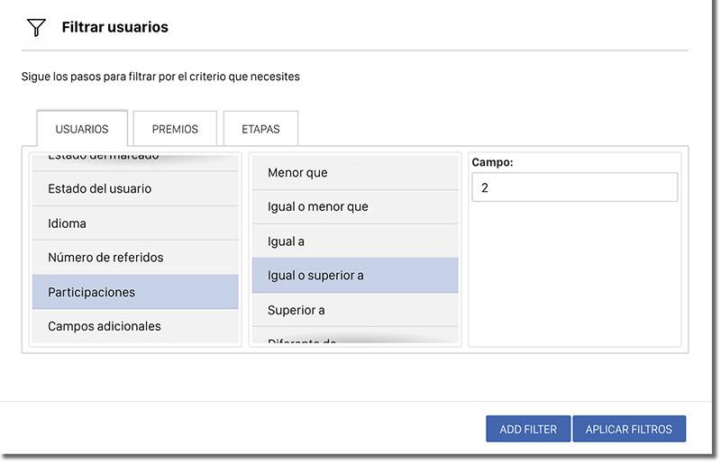 sistema de filtros y de segmentación de usuarios