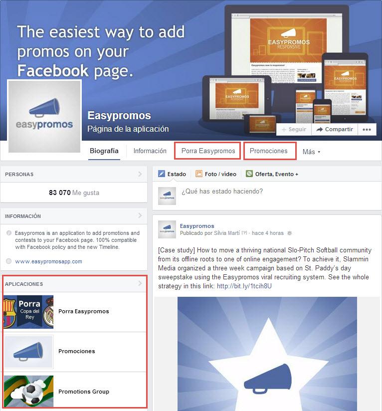 aplicaciones página empresa Facebook