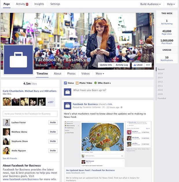 Nuevo diseño anunciado por Facebook para las páginas de negocio