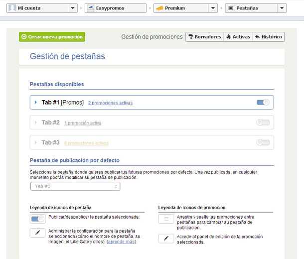 Area de gestion de pestanas act
