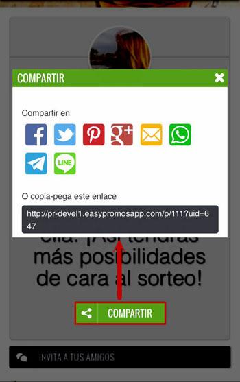 Compartir promocion en Whatsapp