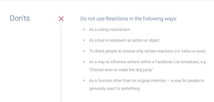 Fragmento de la normativa de Facebook sobre el uso de las Reacciones