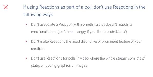 Normativa Facebook sobre el uso de las Reacciones