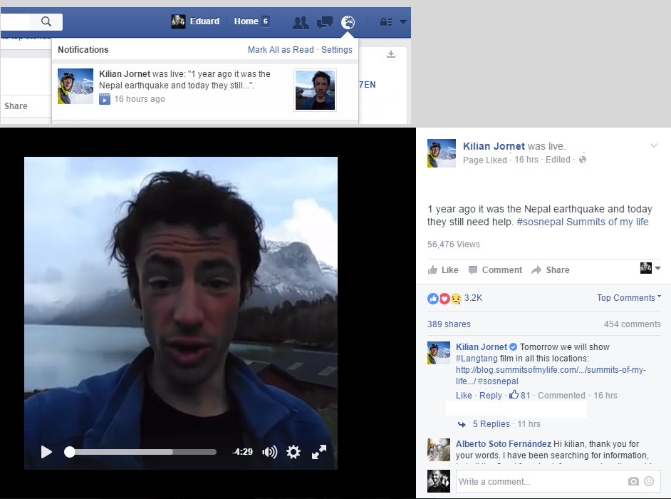 Facebook live streaming kilian jornet