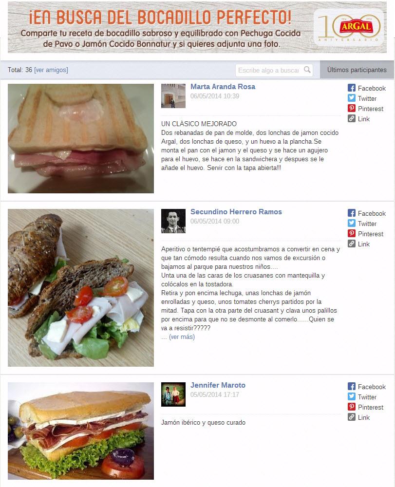 galería de recetas concurso Facebook