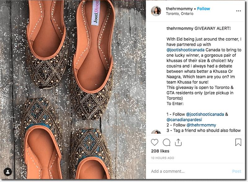 ejemplo de sorteo en instagram para celebrar el Aíd