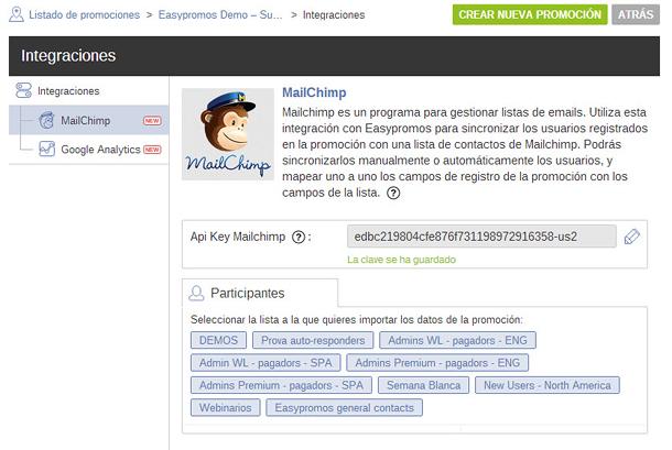 Integracion Easypromos Mailchimp