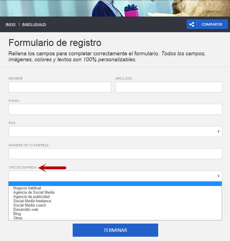 Personalizar formulario de registro