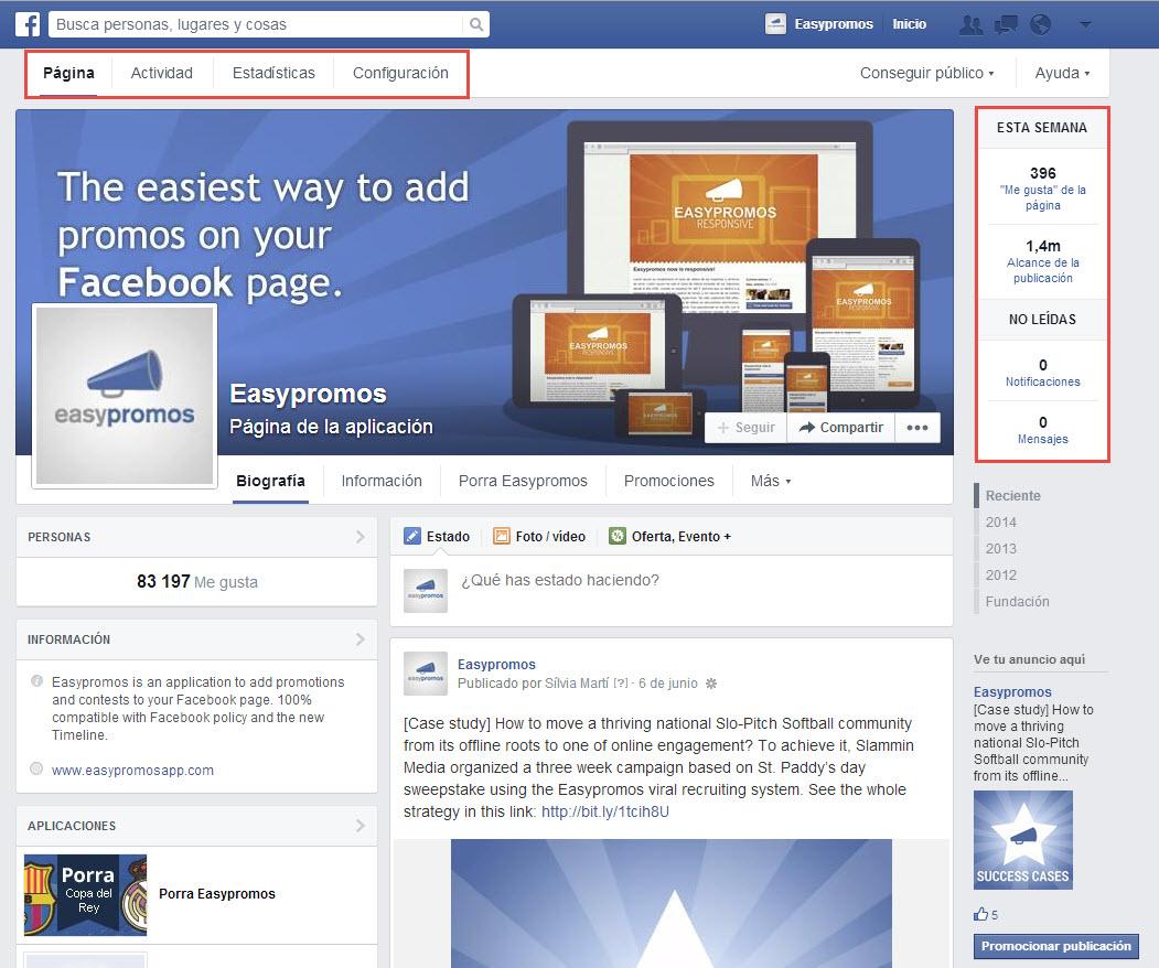 opciones configuración facebook
