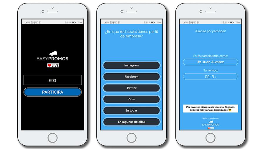 ejemplo de participación desde móvil en un sorteo en vivo