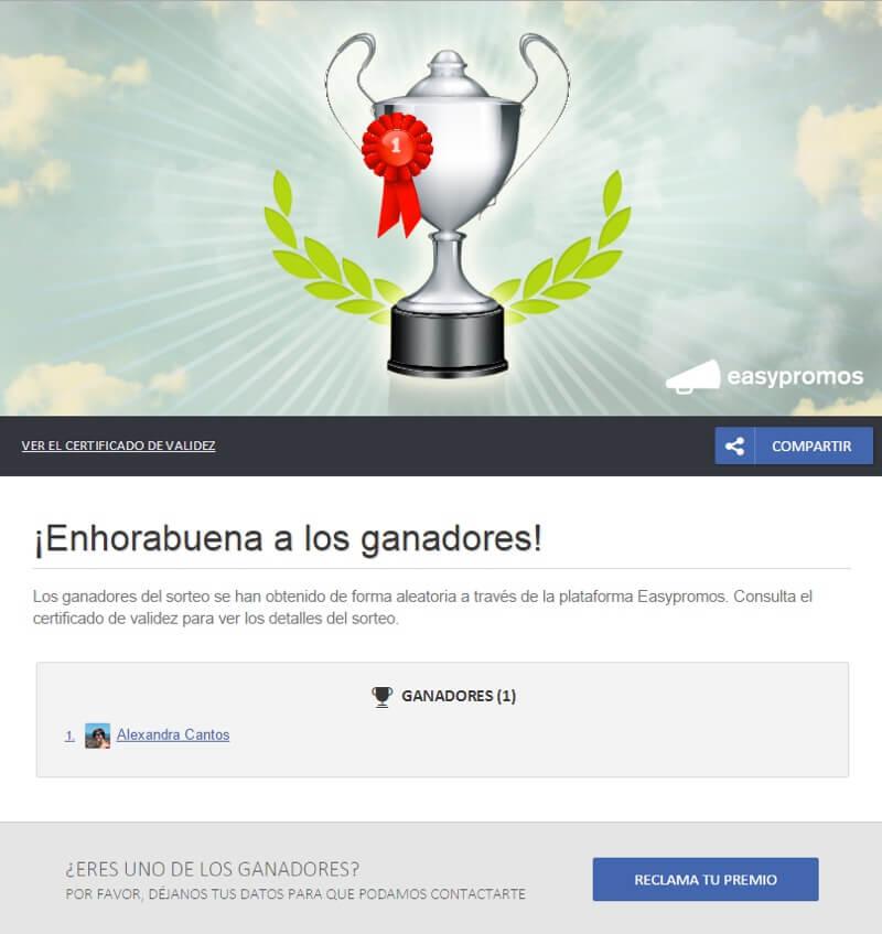 página de ganadores y botón de reclamar premio