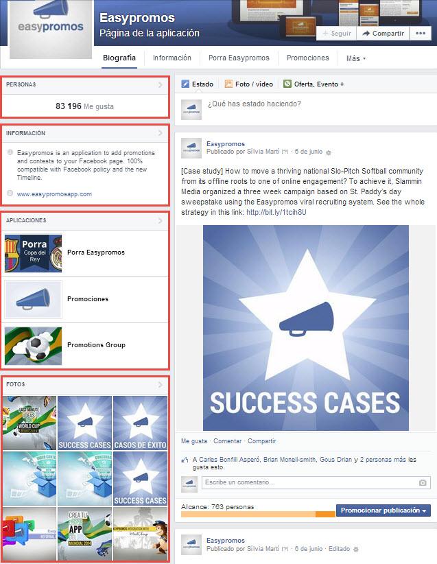 secciones página empresa Facebook