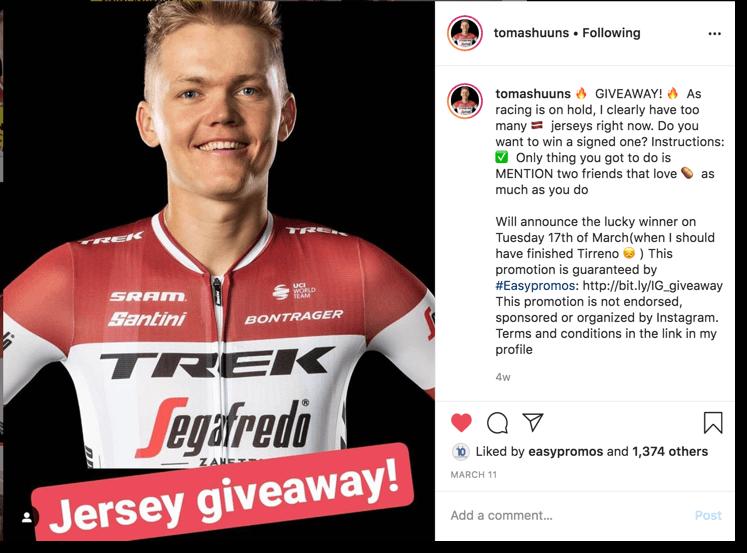 sorteo en Instagram de un deportista foto 3